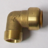 Brass Push Fit Elbow 22mm to 3/4 inch Male Thread - 27132200